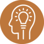 About - Man with Lightbulb in Head Icon Orange