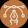 Pen Tip and Computer Artwork Icon Orange