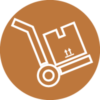 Warehouse Dolly with Package Icon Orange